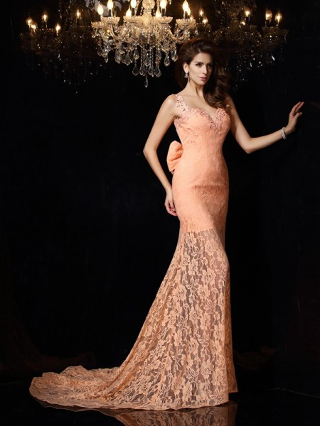 Stylish Sheath/Column Lace Sleeveless Straps Long Satin Dresses