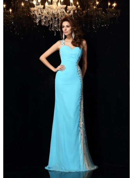 Stylish Sheath/Column Rhinestone Sleeveless One-Shoulder Long Chiffon Dresses
