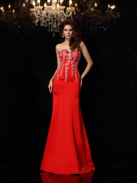 Stylish Sheath/Column Applique Sleeveless Sweetheart Long Satin Dresses