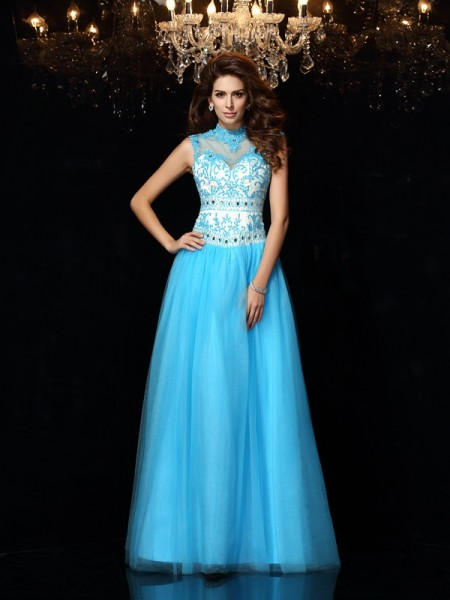 Stylish A-Line/Princess Applique Sleeveless High Neck Long Satin Dresses