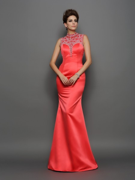 Fashion Trumpet/Mermaid Beading Sleeveless High Neck Long Satin Dresses