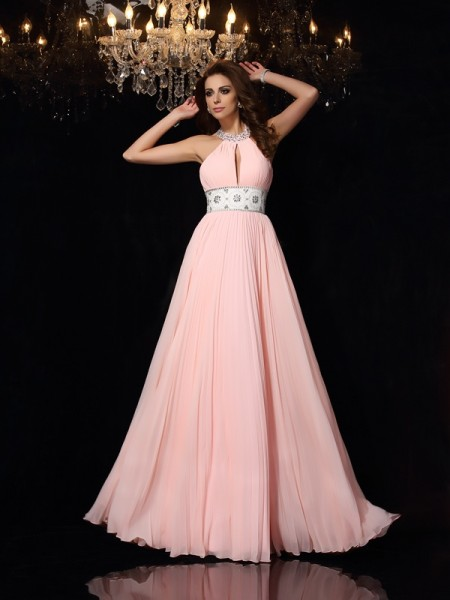 Fashion A-Line/Princess Pleats Sleeveless High Neck Long Chiffon Dresses