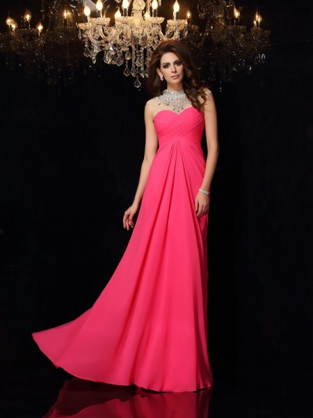 Fashion A-Line/Princess Ruched Sleeveless High Neck Long Chiffon Dresses