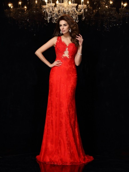 Fashion Sheath/Column Lace Sleeveless V-neck Long Satin Dresses