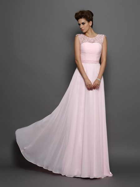 Stylish A-Line/Princess Beading Sleeveless Scoop Long Chiffon Dresses