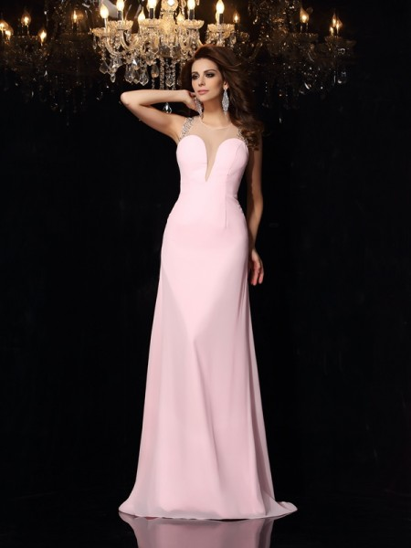 Fashion Trumpet/Mermaid Beading Sleeveless Scoop Long Chiffon Dresses