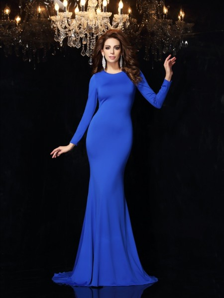Stylish Trumpet/Mermaid Long Sleeves Long Scoop Spandex Dresses