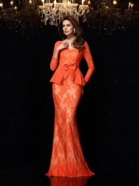 Stylish Sheath/Column Bowknot Long Sleeves V-neck Long Lace Dresses