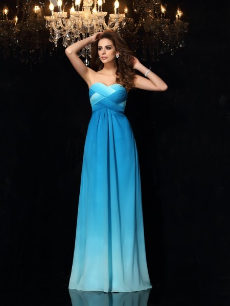 Stylish A-Line/Princess Ruched Sleeveless Sweetheart Long Chiffon Dresses