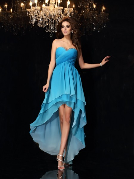 Fashion A-Line/Princess Ruched Sleeveless Sweetheart High Low Chiffon Dresses