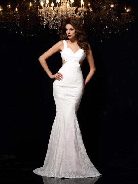 Stylish Trumpet/Mermaid Beading Sleeveless Straps Long Lace Dresses