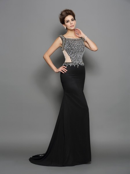Stylish Trumpet/Mermaid Beading Sleeveless Square Long Chiffon Dresses