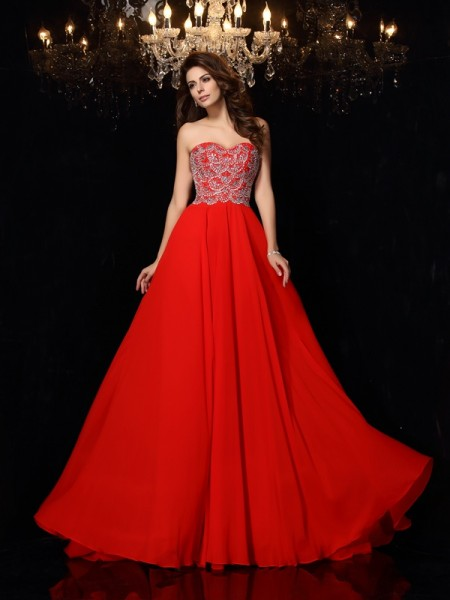 Fashion A-Line/Princess Beading Sleeveless Sweetheart Long Chiffon Dresses