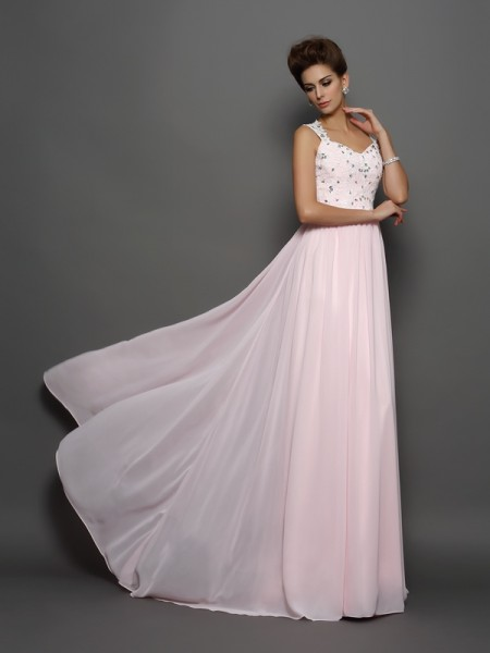 Stylish A-Line/Princess Beading Sleeveless Straps Applique Long Chiffon Dresses