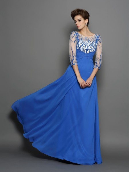 Stylish A-Line/Princess Applique 1/2 Sleeves Scoop Long Chiffon Dresses