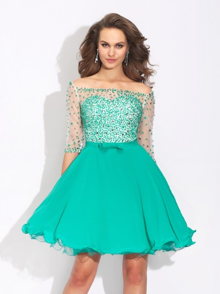Fashion A-Line/Princess Beading 1/2 Sleeves Off-the-Shoulder Short Chiffon Dresses