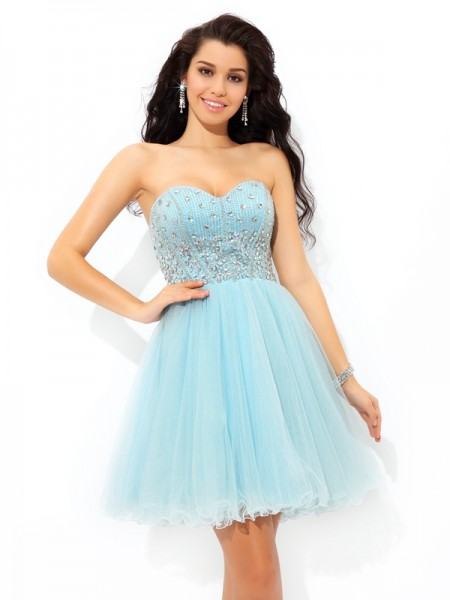 Fashion A-Line/Princess Beading Short Sweetheart Sleeveless Satin Cocktail Dresses