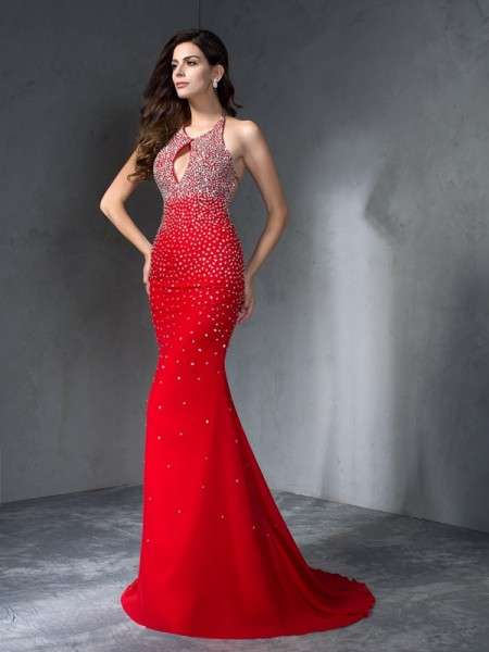 Stylish Trumpet/Mermaid Beading Sleeveless Halter Long Chiffon Dresses
