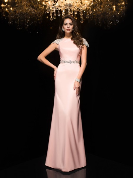Fashion Sheath/Column Beading Short Sleeves Jewel Long Satin Dresses