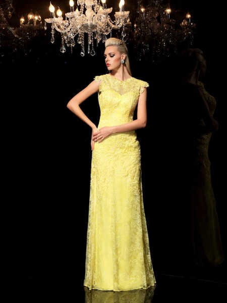 Fashion Sheath/Column Lace Sleeveless SheerNeck Long Chiffon Dresses
