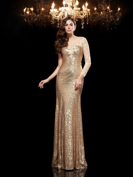 Stylish Trumpet/Mermaid Lace 3/4 Sleeves Scoop Long Sequins Dresses