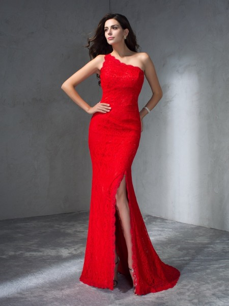 Stylish Trumpet/Mermaid Sleeveless Long One-Shoulder Lace Dresses