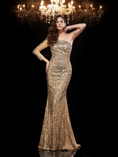 Fashion Trumpet/Mermaid Beading 3/4 Sleeves One-Shoulder Long Sequins Dresses