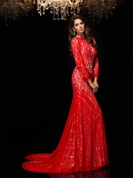 Stylish Sheath/Column Lace 3/4 Sleeves Bateau Long Lace Dresses
