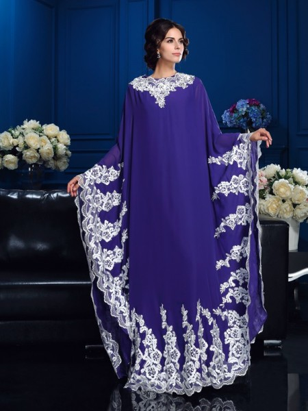 Fashion A-Line/Princess Applique Long Sleeves Scoop Long Chiffon Mother of the Bride Dresses