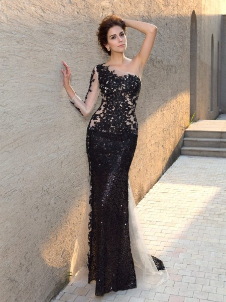 Stylish Sheath/Column Sequin Long Sleeves One-Shoulder Long Lace Dresses