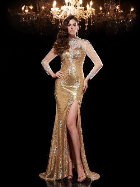 Fashion Trumpet/Mermaid Beading 3/4 Sleeves High Neck Long Sequins Dresses