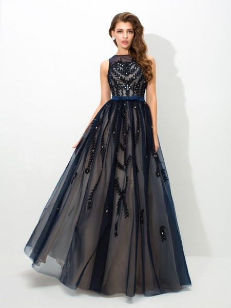 Stylish A-Line/Princess Applique Sleeveless SheerNeck Long Tulle Dresses