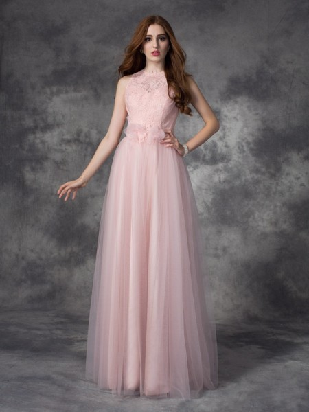 Fashion A-line/Princess Hand-Made Flower Bateau Sleeveless Long Net Dresses