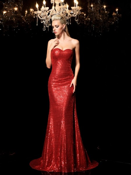Stylish Sheath/Column Sequin Sleeveless Sweetheart Long Sequins Dresses