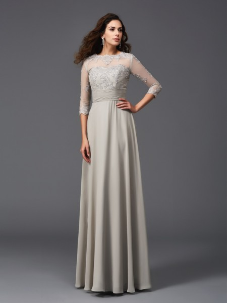 Fashion A-Line/Princess Applique 3/4 Sleeves Scoop Long Chiffon Dresses