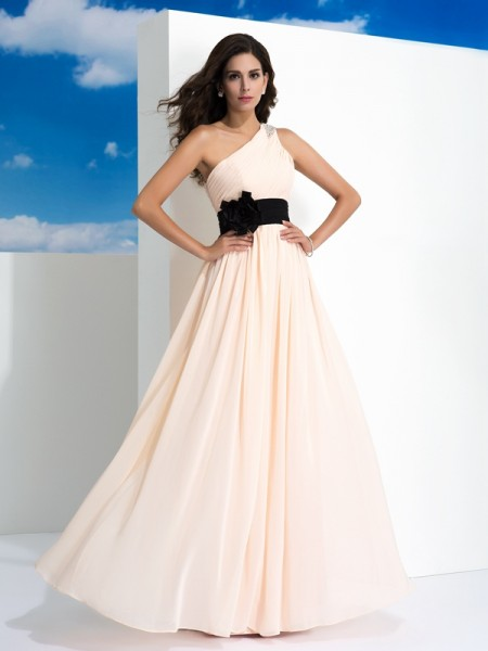 Fashion A-Line/Princess Sash/Ribbon/Belt Sleeveless One-Shoulder Long Chiffon Dresses