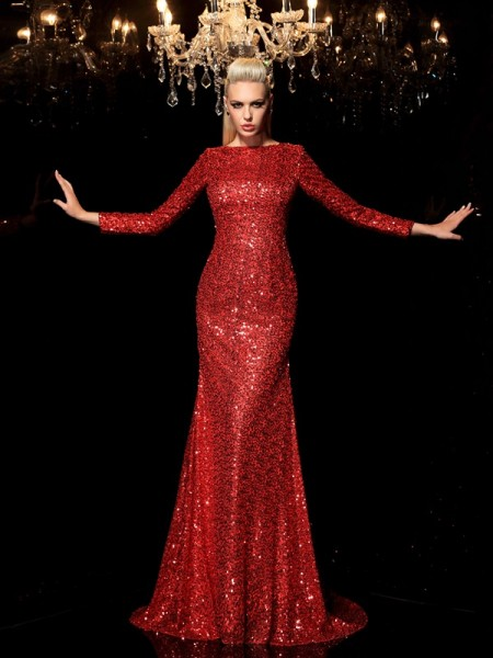 Stylish Sheath/Column Sequin Long Sleeves Scoop Long Sequins Dresses
