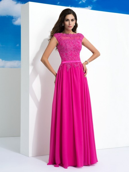 Stylish A-Line/Princess Lace Sleeveless SheerNeck Long Chiffon Dresses