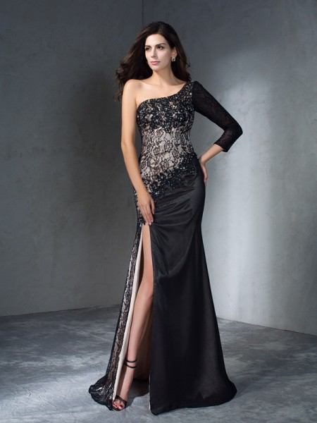 Stylish Trumpet/Mermaid 3/4 Sleeves Long One-Shoulder Lace Dresses