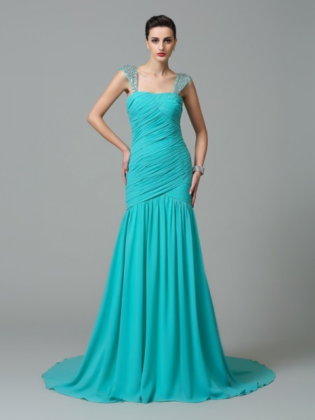 Stylish A-Line/Princess Ruched Sleeveless Straps Long Chiffon Dresses