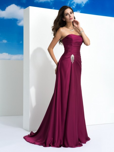 Stylish A-Line/Princess Pleats Sleeveless Strapless Long Satin Chiffon Dresses