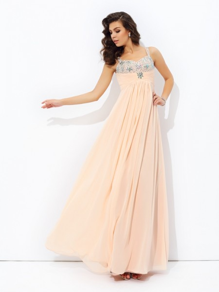 Stylish A-line/Princess Straps Beading Spaghetti Sleeveless Long Chiffon Dresses
