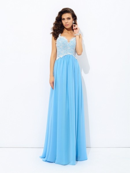 Fashion A-Line/Princess Lace Sleeveless V-neck Long Chiffon Dresses