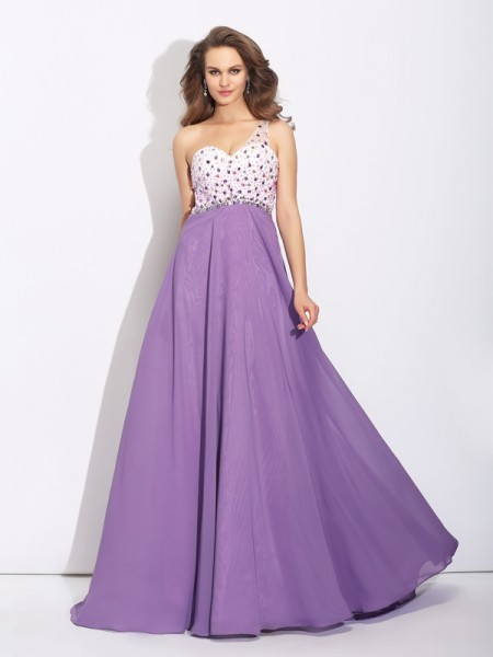 Fashion A-Line/Princess Crystal Sleeveless One-Shoulder Long Chiffon Dresses