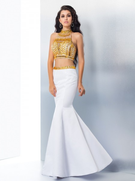 Stylish Trumpet/Mermaid Beading Sleeveless High Neck Long Satin Dresses