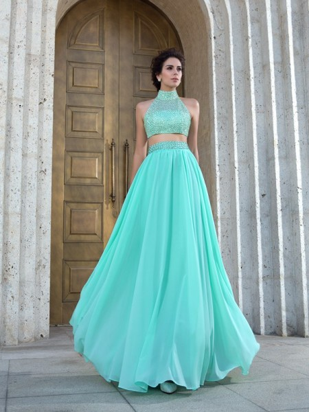 Fashion A-Line/Princess Beading Sleeveless High Neck Long Chiffon Two Piece Dresses