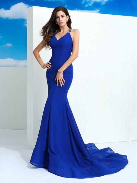 Fashion Sheath/Column Beading Sleeveless Straps Long Chiffon Dresses