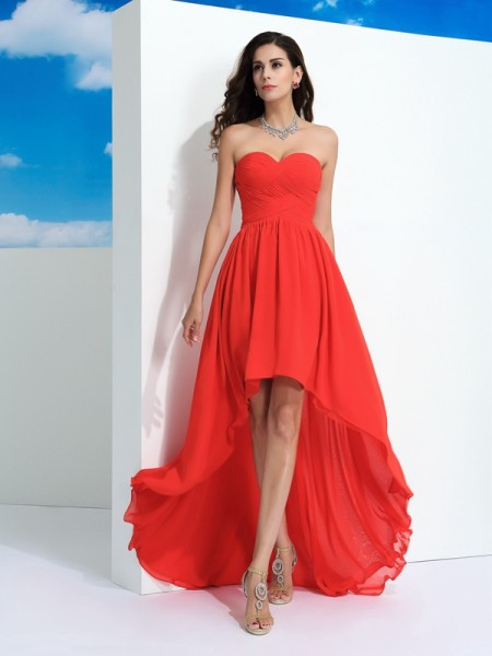 Fashion A-Line/Princess Pleats Sleeveless Sweetheart High Low Chiffon Dresses