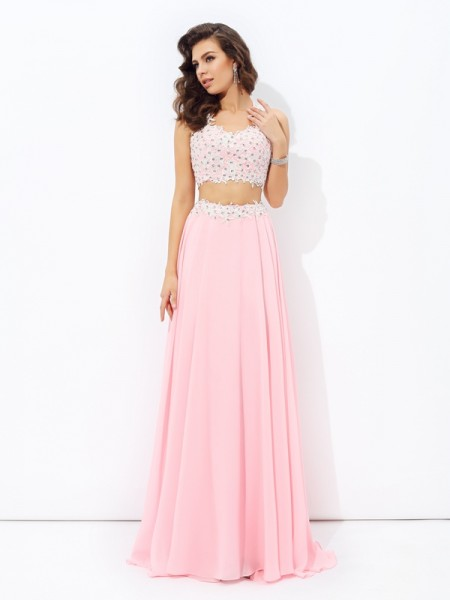 Fashion A-line/Princess Applique Sleeveless Straps Long Chiffon Two Piece Dresses
