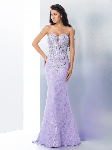 Fashion Trumpet/Mermaid Beading Sleeveless Sweetheart Long Lace Dresses